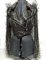 Women Real Leather Jacket Black Heavy Metal Full Long Spiked Studded Jacket