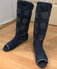 Denim Floral Cut Out Rhinestone Mid Calf Open Toe Women Girls Boots Size 5.5 - 6