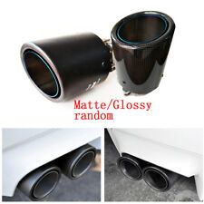 1X Glossy/Matte Exhaust Tip Pipe Muffler Carbon Fiber Blue Burnt Stainless Steel
