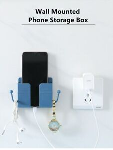 Wall Mobile Phone Holder Storage Box Plug Stand with Hooks (37)
