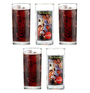5 x Coca Cola Glasses Coke Tumblers Drinking Glass Retro Vintage Gift 300ml