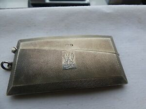 Solid Silver Hallmarked Curved Card Case Birmingham 1934 makers W.N Ltd