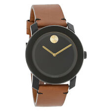 Movado Bold Series Mens Brown Leather Strap Swiss Quartz Watch 3600305
