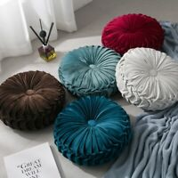 Velvet Pleated Round Cushion Sofa Couch Throw Pillow Pumpkin Pad Home Decoration