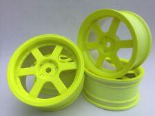 Rc Car 1/10 Drift 5 Spoke 37R Rims Wheels 3mm Offset fits Tamiya HPI YELLOW x 4