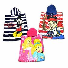 Disney Kids Bath Poncho Hooded Towel Childrens 50 x100cm Mickey Princess Jake