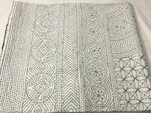 Indian Kantha Quilt White Heavy Embroidery Red Bedcover Bedspread Blanket Throw.