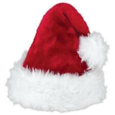 Deluxe Father Christmas Hat Red Xmas Santa Fancy Dress Costume Gift idea Fancy