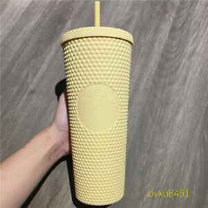 ON HAND Starbucks China matte butter yellow studded tumbler straw cup 24Oz