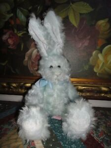 Russ Platinum Bunny MY FIRST EASTER Rabbit Nr 31981 Faux Baby Blue Mohair 16inch
