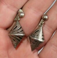 Vintage Sterling Silver Earrings Mexico Jewelry (839B)