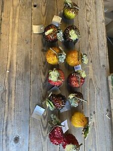 12 x Gisela Graham Christmas Tree Hanging  Fruits Apples & Pears Sparkly - 1101