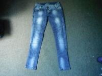 "J Well Skinny Jeans Waist 30"" Leg 31"" Faded Dark Blue Ladies Jeans"