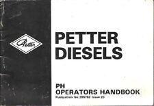 PETTER PH SERIES DIESEL ENGINE ORIGINAL 1986 OPERATORS HANDBOOK