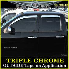 14-19 CHEVY SILVERADO Double-Extended cab Chrome Door Visors Window Rain Guards