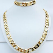 Stamped ITALY 18KGL 18K Yellow Gold Filled Men's Chain Necklace Bracelet 94grams