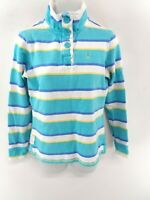 CREW CLOTHING Womens Jumper Sweater 6 Blue White Yellow Stripes Cotton 1/4 Zip