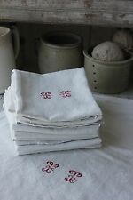 Damask linen napkin SET 12 TT  monogrammed linen  30X23 c1920 white old