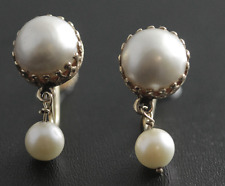 Vintage Mabe Pearl Dangle Drop Earrings 14k Yellow Gold Screw Back