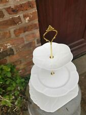 Vintage Shelley Dainty White 3 Tier Cake Stand Party Wedding
