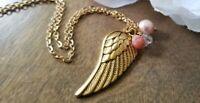 Angel wing necklace, long, pendant,  peach Czech glass, floral, handmade, gold