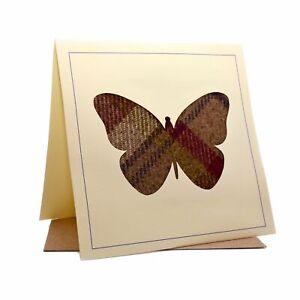 Butterfly Tweed Fabric Greeting / Birthday Card