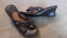 "BORN Women's Brown Leather Mule Slide Wedge 2.75"" Heels Style Sz 7"