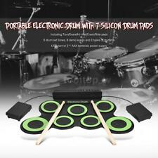 Roll-up Electronic Drum Pads Set 7-Pad USB Powered w/Drumsticks Foot Pedals L7C5