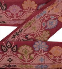 Vintage Sari Border Antique Woven 1 YD Indian Trim Sewing Pure Silk Lace