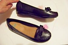 womens yuu raven black leather stitched ribbon bow loafers flats shoes size 6
