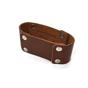 NWT $335 Maison Margiela Men's Riveted Brown Leather Cuff Bracelet AUTHENTIC