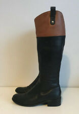 DUNE Black & Brown Leather Knee High Riding Boots Size 3 Flat / Low Heel Zipped