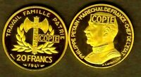★★★ COPIE PLAQUEE OR DE L'ESSAI DE LAVRILLIER DE LA 20 FRANCS 1941 PETAIN ★★