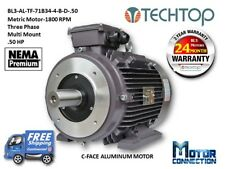 .50 HP Electric Motor, METRIC,1800 RPM, 3-Phase, C-Face, Aluminum
