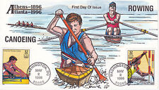 COLLINS HAND PAINTED FIRST DAY COVER FDC 1996 ATLANTA OLYMPICS ROWING CANOEING