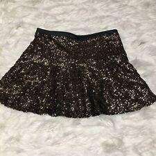 Express Golden Sequin Skirt A Line Flare Lined Side Zipper Short