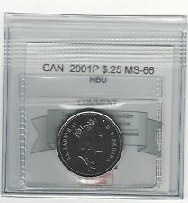 **2001P**, Coin Mart Graded Canadian, Twenty-Five Cent**MS-66 NBU**