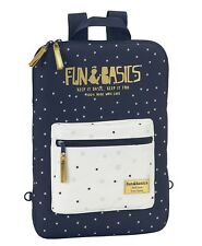 Fun & Basics Padded Tablet or Laptop Bag with Straps Navy Blue
