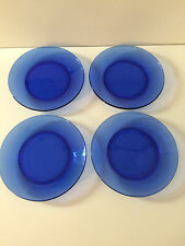 Set of 4 Cobalt Blue Glass Salad  Dessert Plates  7.5""
