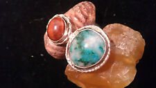 Stone Ring - Size - 7 3/4 Sterling Green Agate Eye Of The Tiger