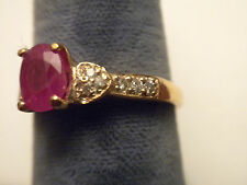 Custom Made Ruby And Diamond 14K Yellow Gold Ring