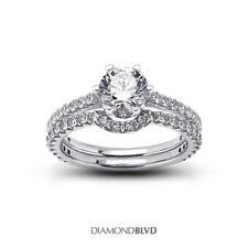 2.34 Carat Total D/VVS1/V.Good Cut Round Diamonds 18K Cathedral Bridal Set 5.7gr