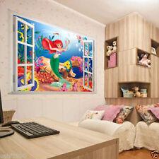 New 3D Window View Mermaid Sea World Cartoon Vinyl Wall Sticker Decal Art Decor