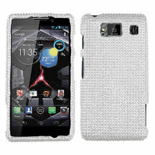 Motorola DROID RAZR HD XT926 Diamond Crystal BLING Hard Case Phone Cover Silver