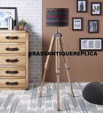 MODERN Floor Lamp Wooden Tripod Lighting Stand Shade Fixture Decor