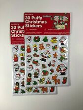 Lot Of 2 Packs Vintage 80s 90's Puffy 3D Christmas Stickers
