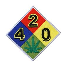 "Fire Diamond ""420"" Pot Leaf Iron-On Patch Warning Dank Weed Marijuana Applique"