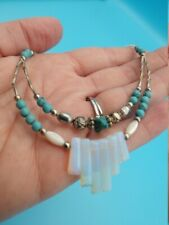 Stones Silver Opalite Necklace Vintage Native Style Turquoise Colored