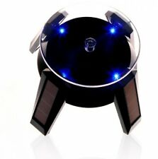 Black Solar Powered Jewelry Phone Watch 360° Rotating Display Stand Turn Table