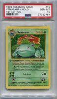 Pokemon Card 1st Edition Shadowless Venusaur Base Set 15/102, PSA 10 Gem Mint
